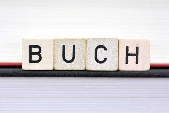 """Buchstaben-Klötze """"BUCH"""" auf ebensolchem"""