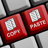 Tastatur mit farblich hervorgehobenen Copy- und Paste-Tasten