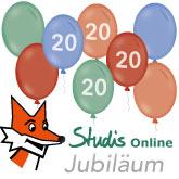 Luftballons zum 20-jährigen Jubiläum von Studis Online