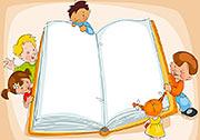 Kinder schauen hinter einem Buch hervor