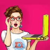 Mädchen mit Laptop in der Hand – Comicstyle