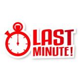 """Schriftzug """"Last Minute"""" mit Stoppuhr"""