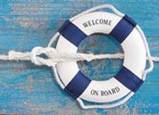 Rettungsring mit der Aufschrift Welcome on Board