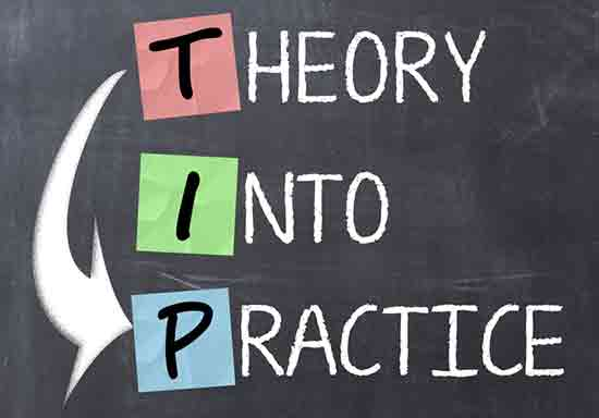 Tafel mit Theory into Practice