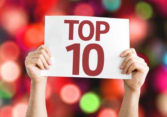 """Hände halten ein Schild """"Top Ten"""" in die Höhe, bunter Hintergrund"""