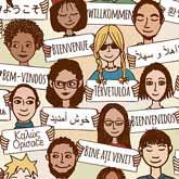 Zeichnung: Leute halten in viele verschiedenen Sprachen das Wort