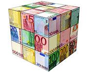 Zauberwürfel mit Geldscheinen