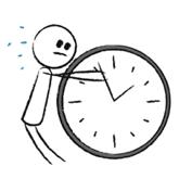 Strichmännchen versucht Zeiger einer sehr großen Uhr anzuhalten