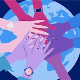 Quietschbunte Hände die sich vor der Welt die Hände halten.