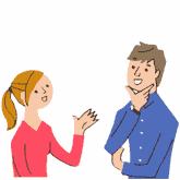 Bunte Zeichnung: Mann und Frau unterhalten sich gestenreich