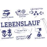 Stichwort Lebenslauf umgeben von den wesentlichen Inhalten: Ausbildung, Fähigkeiten, Kontaktdaten, Sprachen etc.