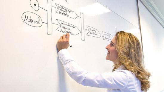 Eine Studierende am Whiteboard.