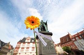 Begrüßung der Erstsemester mit einem Sonnenblumengruß