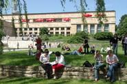 Studierende im Grünen (Campus Uni Frankfurt)