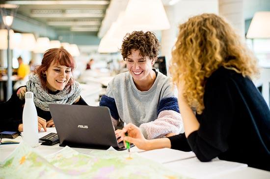 Studierende arbeiten an Laptop
