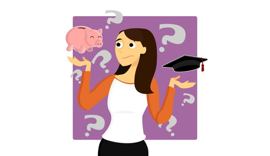 Eine Studentin macht sich Sorgen um die Finanzierung ihres Studiums