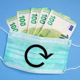 OP-Maske mit fünf 100-Euro-Geldscheinen und Reload-Zeichen