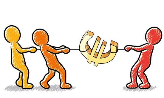 Tauziehen zwischen Strichmännchen um ein Euro-Symbol