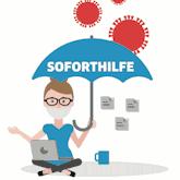 """Illustration: Frau mit Brille sitzt mit ihrem Laptop unter einem Schirm mit der Aufschrift """"Soforthilfe"""", es regnet Corona-Viren"""