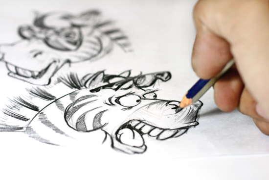 Hand zeichnet Skizze für Comic mit zwei Zebras
