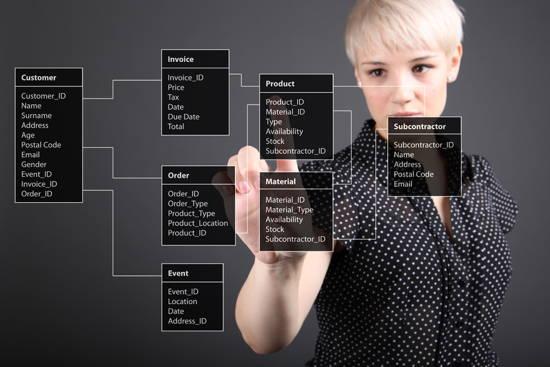 Eine (Programm-)Klassenhierarchie wird transparent im Raum dargestellt, eine Studentin klickt auf ein Klassendiagramm