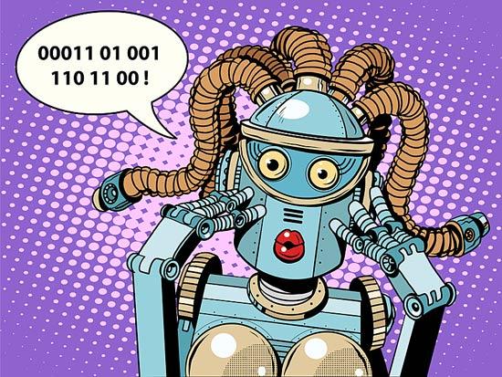 Ein Roboter spricht mit Nullen und Einsen