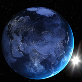 Aufnahme der Erde bei Nacht aus dem Weltall