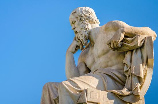 Marmorstatue des griechischen Philosophen Sokrates (469-399 v.Chr.)