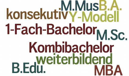 Wortwolke zu Bachelor- und Mastermodellen