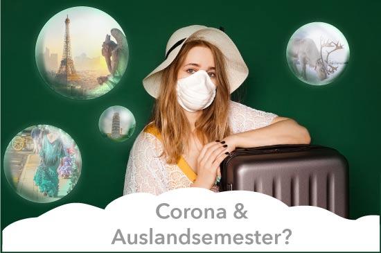Studentin mit Koffer und Maske sitzt vor einer Tafel Seifenblasen