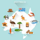 Karte Australiens mit typisch australischen Objekten.