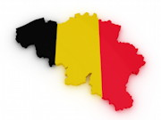 Umriss von Belgien, schwarz-gelb-rot (Farben der Landesflagge)