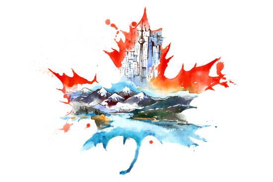 Impressionen aus Kanada gemalt in Form eines Ahornblattes