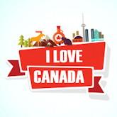 """Schriftzug """"I love Canada"""", darüber einige typische, symbolisierte Dinge aus Kanada"""