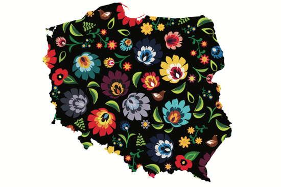 Der Umriss von Polen, gefüllt mit traditionellem volkstümlichem polnischen Blumenmuster