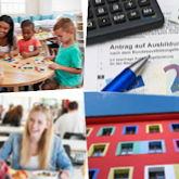 Montage aus vier Bildern mit Aufgaben der Studentenwerke: Mensa, Wohnen, BAföG/Studienfinanzierung, Kinderbetreuung