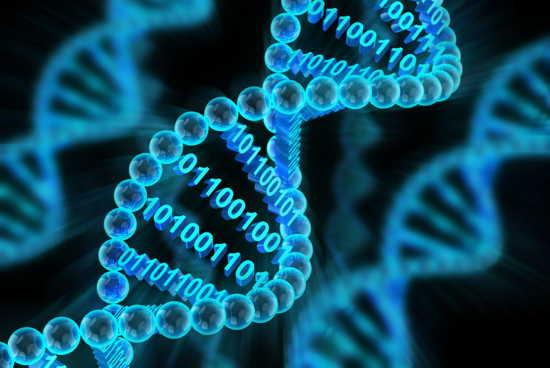 DNA-Helix mit binärem Code