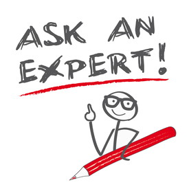 Figur mit Stift, Text dazu: Ask an expert!