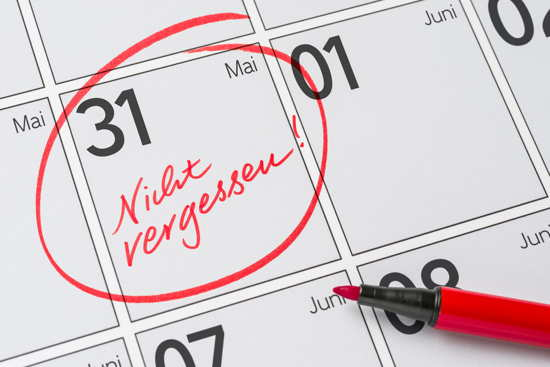 """Kalender: 31. Mai mit Vermerk """"Nicht vergessen"""""""