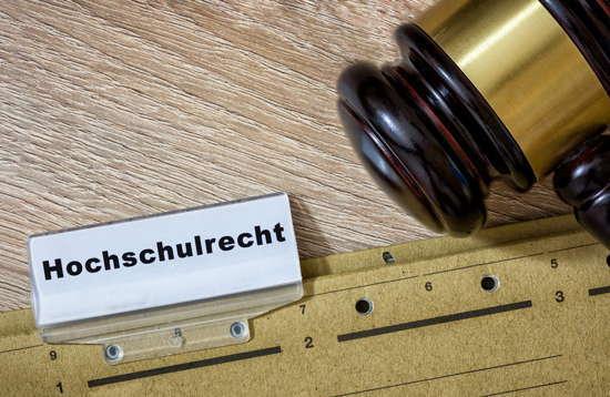"""Akte """"Hochschulrecht"""" mit daneben liegendem Richterhammer"""