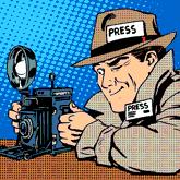 Comic: Mann mit amerikanisch-typischen Reporter-Codes: Hut mit Krempe, Trenchcoat, großer Kamera,