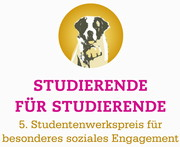 Logo (Bernhardiner) und Schriftzug des Wettbewerbs Studierende für Studierende – 5. Studentenwerkspreis für besonderes soziales Engagement