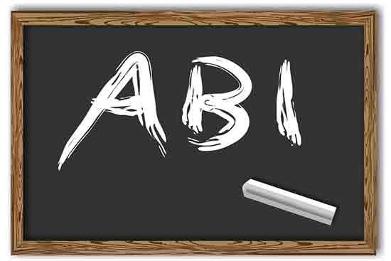 Tafel mit Aufschrift: Abi